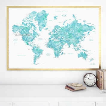 """Printable world map poster in watercolor style featuring cities, capitals, states...no quote, large 36x24"""""""