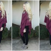 The Perfect Poncho in Cabernet