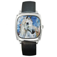 White Horse on a Silver Square Watch with Leather Band
