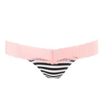 Black/White Lace-Band Striped Thong Panties by Charlotte Russe