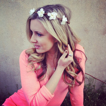 COACHELLA, EDC Goddess Hair WREATHES- White Cherry Blossoms Headband- Hair Crown- Flower Crown Trendy