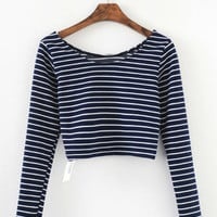 Striped Long Sleeve Casual Cropped Top
