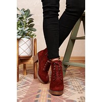 Find Your Angle Lace Up Booties (Burgundy)