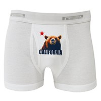 California Republic Design - Grizzly Bear and Star Boxer Briefs  by TooLoud