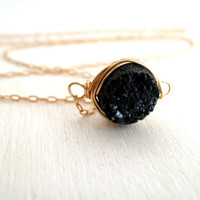 Black druzy Choker necklace Vitrine Gift for her under 45 14K goldfilled Winter fashion