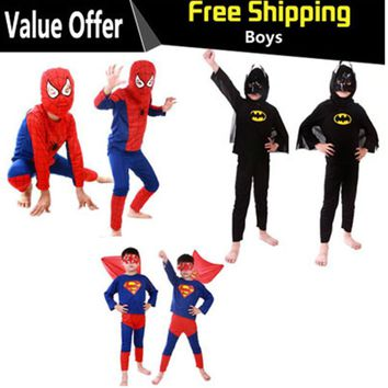 Fantasia Disfraces spiderman superman batman children party cosplay The Avenger costume Halloween Carnival Christmas Purim dress
