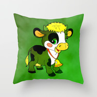 Childhood Cow Throw Pillow by Texnotropio