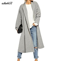 Women Cloak Coat Echo657 Hot Sale Fashion Womens Open Front Trench Coat Long Cloak Overcoat Waterfall Cardigan Nov 25
