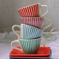 4 striped espresso Cups and Saucers