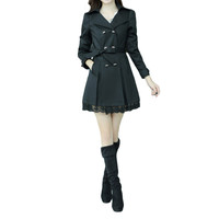 Black Lapel Collar Double Breasted Bow Waist  Long Sleeve Trench Coat