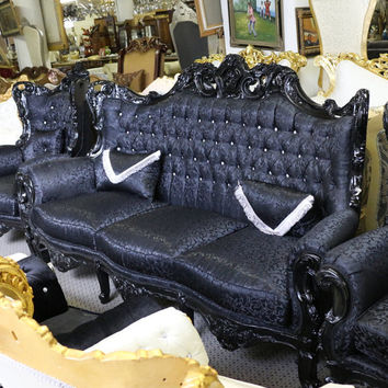 """Gorgeous Black Gothic Carved Living Room Sofa - Paisley Fabric - Solid Wood - 93"""""""