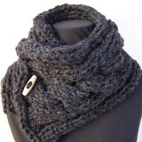 Charcoal Grey Cabled Wool Blend Scarfette with Wood by trishafern