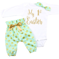 My 1st Easter High Waisted Pants Outfit, Mint Gold Polka Dot Outfit Gold My 1st Easter and knotted headband