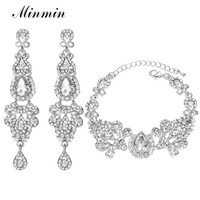 Minmin Lovely Fish Shape Crystal Drop Earrings with Charm Bracelet Bridal Jewelry Sets for Women Wedding Accessory EH162+SL037
