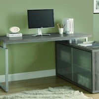 "Dark Taupe Reclaimed-Look ""L"" Shaped Desk / Frosted Glass"