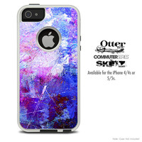 The Abstract Blue Paint Skin For The iPhone 4-4s or 5-5s Otterbox Commuter Case