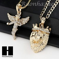 MEN ANGEL & KING LION PENDANT BOX CUBAN CHAIN DOUBLE NECKLACE SET SD05