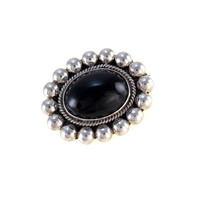 Mexican Sterling & Black Onyx Pendant Brooch