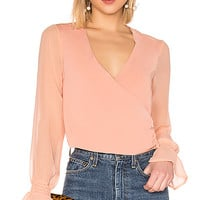 About Us Clarise Wrap Top in Nude   REVOLVE