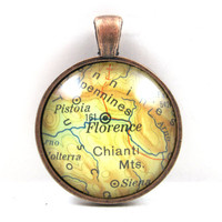Florence, Italy, Pendant from Vintage Map, in Glass Tile Circle