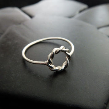 Twisted Open Circle Ring, Sterling Silver Rope Ring, Minimalist Ring, Delicate Silver Ring, Gift for Her, Eternity Ring, Promise Ring