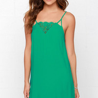 Off to Ibiza Green Lace Slip Dress