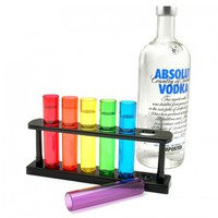 Test Tube Shot Glasses, Set of 6 with Stand
