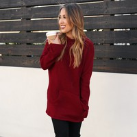 Sweet Melody Knit Sweater in Burgundy