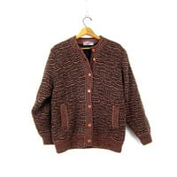 Vintage sweater coat CHUNKY knit Wong Kong Asian sweater cardigan coat Lined Button Up Sweater Fall Jacket Women's Size Large