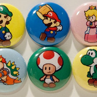 """Set of 6 Paper Mario 1"""" Pinback Buttons"""