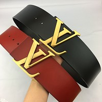 Louis Vuitton LV men and women couples with the same letter buckle classic casual belt