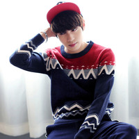 Color Block Geometric Pattern Panel Knit Pullover Sweater