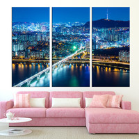 Seoul night light wall art print, extra large canvas print, Seoul skyline wall art canvas, modern wall art, large wall art city t253