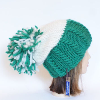 Irish handknit green and white team hat slouchy hats with pompom fun knitted wool hats for adult teenager child chunky yarn
