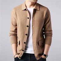 Men Streetwear Fashion Sweater Coat Men Autumn Winter Warm Cashmere Woolen Cardigan Men with Pocket