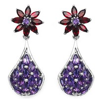 3.80 Carat Genuine Amethyst & Garnet .925 Sterling Silver Earrings