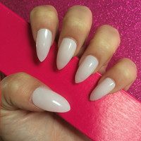 Luxury Hand Painted False Nails. Stiletto Blush Nude Kim K Nails. 24 Nail Set.