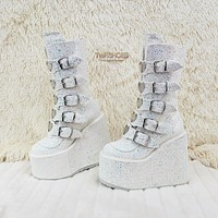 "Swing 230G White Multi Glitter Mid Calf Boot 5.5"" Platform Heart Strap 6-12 NY"