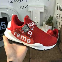 Supreme & Nike Fashion new letter print sports running couple shoes Red