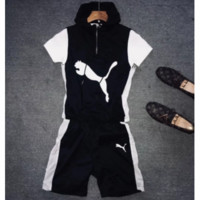 PUMA 2018 summer trendy men and women models wild hooded sleeveless + shorts two-piece F0483-1 black