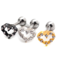 Fashion personality heart hollow out zircon earrings Stainless steel antiallergic tragus Earring-0427-Gifts box