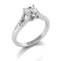 diamonds and moissanite center engagement ring, anniversary ring, style 156WDM