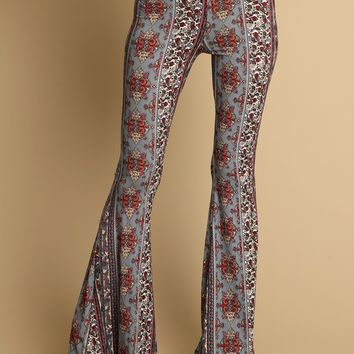 Midnight Heaven Floral Print Flares | Threadsence