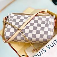 LV Fashion New Monogram Tartan Print Leather Chain Shoulder Bag Crossbody Bag White