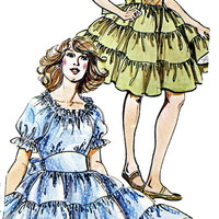 SQUARE DANCING DRESS Pattern Rockabilly Dress Peasant Blouse Top Authentic 277 Womens Sewing Patterns UNCuT Size 12 14 16 Bust 34 36 38