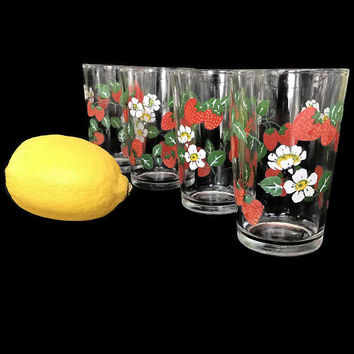 Vintage Juice Glasses Strawberries Morning Star Glass Painted Stawberries Green Leaves White Blossoms Vintage Farmhouse Kitchen Set of 4