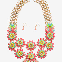 Neon Flower Statement Necklace