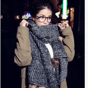 Knitted Long Scarf with Pom Decor