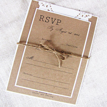 Rustic Doily Kraft Typography Wedding Invitaiton