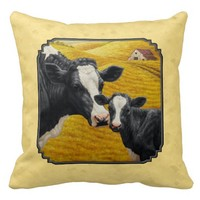 Holstein Cow and Calf Yellow Throw Pillow